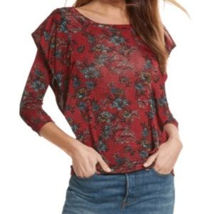 Free People Red Dock Ruffle Side Floral Blouse/Top